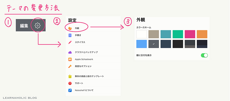 Noteshelf2アップデートデザイン変更方法